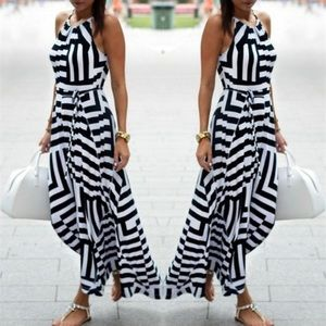 Black and White Striped Halter Dress Small